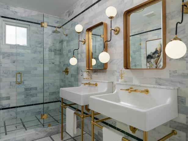 Gray Tile Art Deco Bathroom