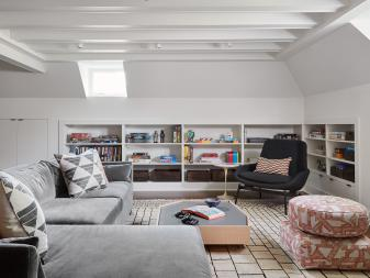 Contemporary Attic Family Room With Sectional