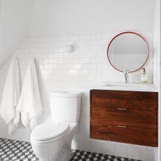 Contemporary Bathroom With Geometric Floor