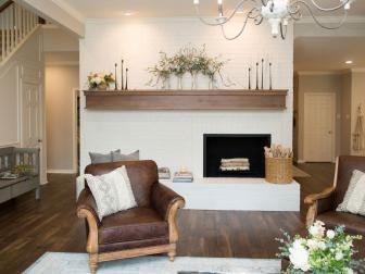 Contemporary Neutral Living Room with Wood Mantel