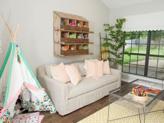 Shabby Chic Bonus Room with Scalloped Metal Awning