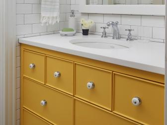 Multicolored Girl's Bathroom With Yellow Vanity