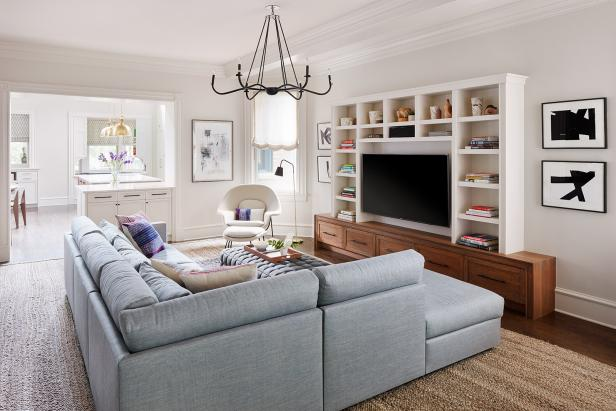 White Transitional Family Room With Sectional