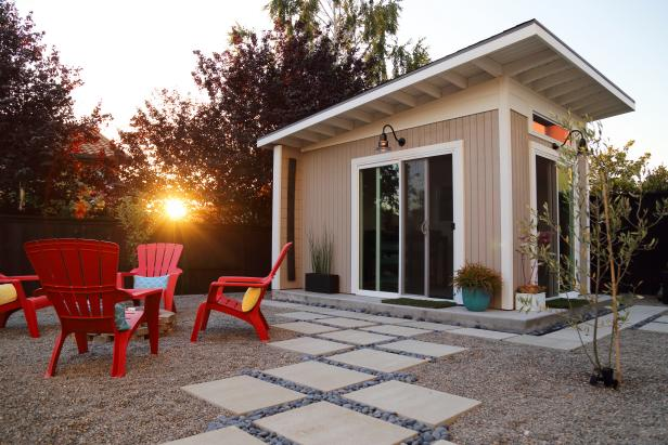 Contemporary Backyard Art Studio With Minimalist Landscaping