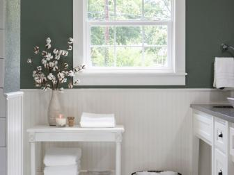 Contemporary Bathroom with Green and White Tile Floor