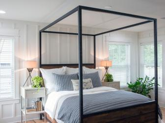 Contemporary Neutral Bedroom with Black Canopy Bed