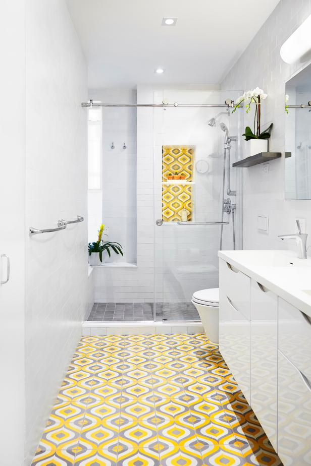 White Bathroom With Yellow Floor