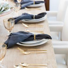 Place Settings With Blue Napkins