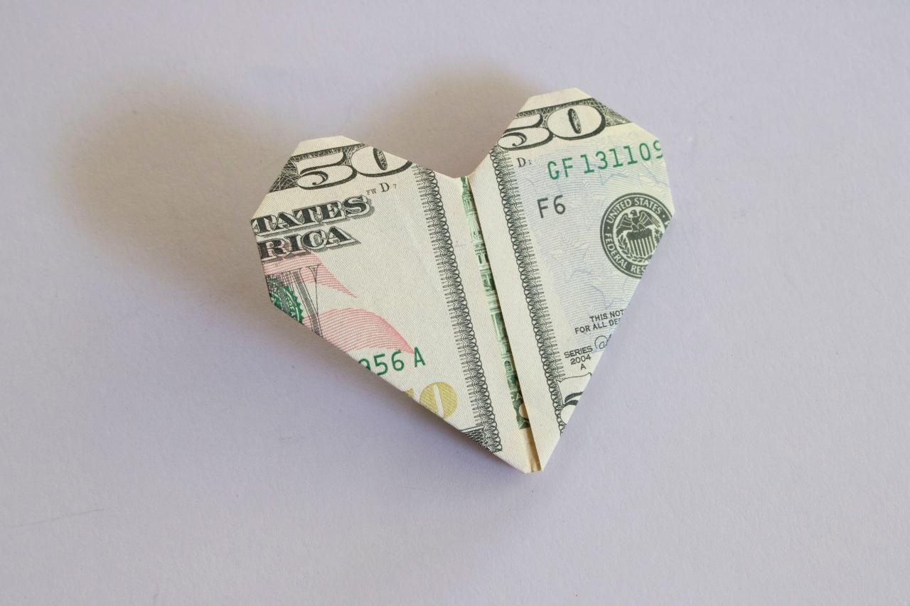 how to fold a dollar bill into an origami heart hgtv