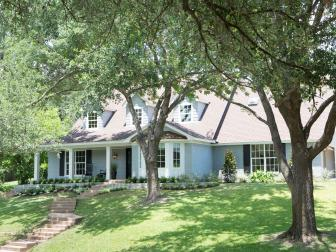 Gray Traditional Home Exterior with White Trim