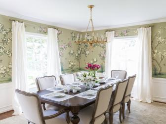 Green Traditional Dining Room With Floral Wallpaper