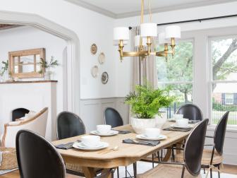 Rustic Neutral Dining Room With Wooden Farm Table