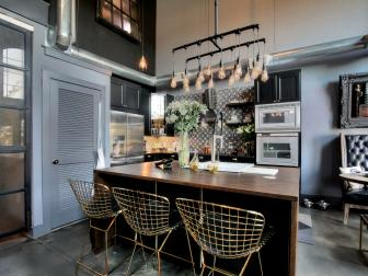 Gray Urban Kitchen With Metal Barstools