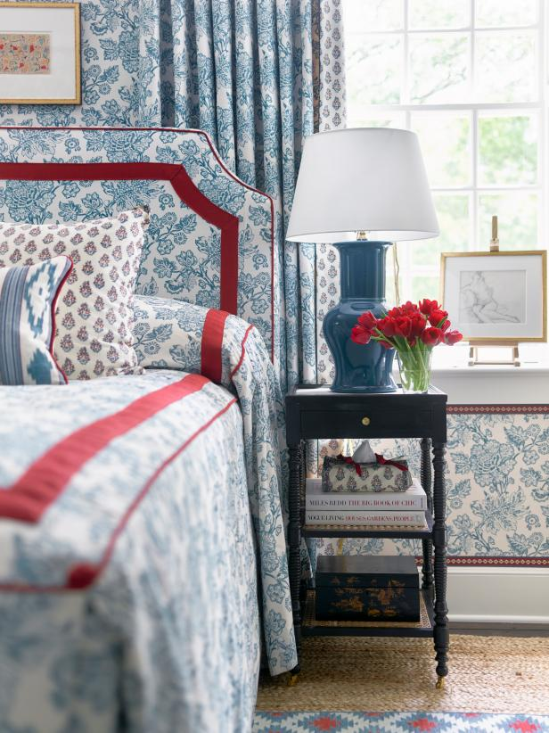 Classic Blue and White English Bedroom with Matching Curtains, Bedding and Headboard