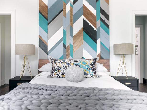 Bedroom with Colorful Geometric Painted Wood Headboard