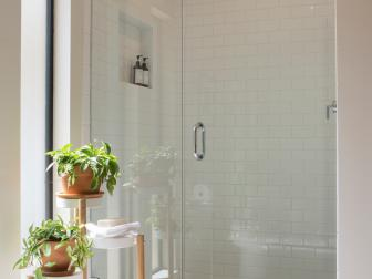 White Midcentury Modern Master Bathroom with Glass Shower