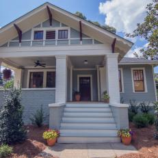 blue craftsman home exterior with red front door - Craftsman Home Exterior