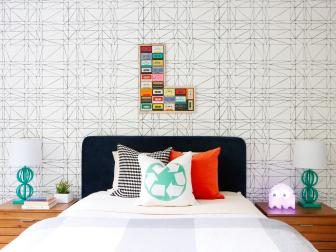 Multicolored Kid's Room With Graphic Wallpaper