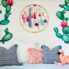 Boho-Chic Girl's Room With Dreamcatcher, Watercolor Wall Art