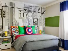 Multicolored Contemporary Boy's Bedroom With Mural