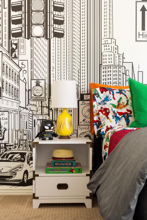 Contemporary Boy's Bedroom and Nightstand