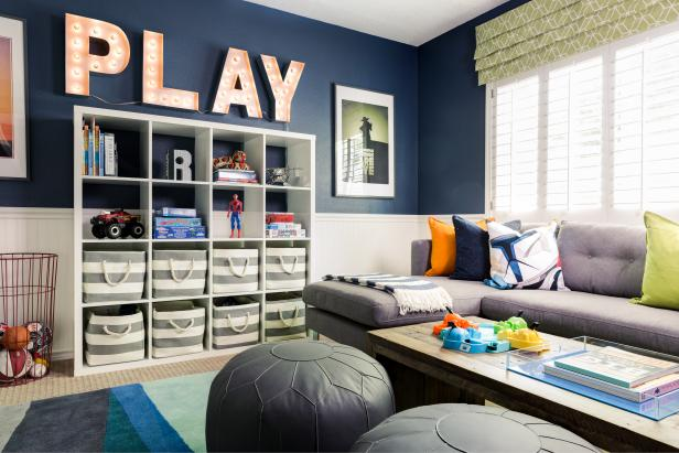 Blue Contemporary Boy's Bedroom With Sectional