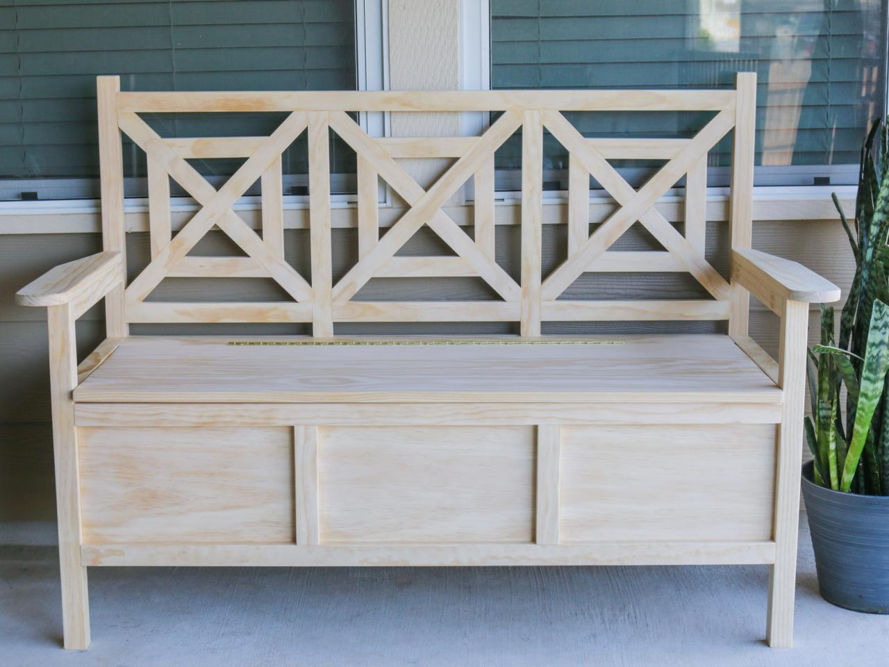 How to build an outdoor bench with storage hgtv Bench with shelf