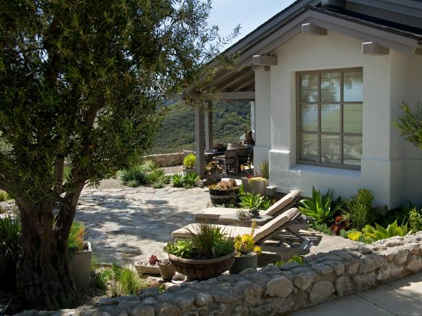 Stone Garden Walls Surround Rustic Outdoor Space