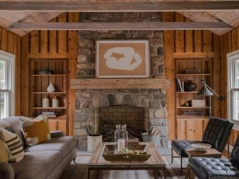 Cottage Living Room With Knotty Pine Paneled Walls