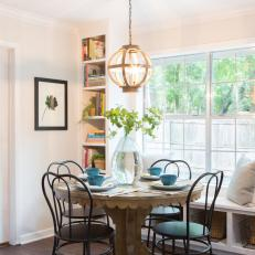 Breakfast Nook With Rustic Pedestal Table