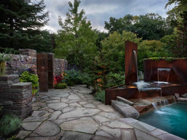 Flagstone patio pictures paver tips hgtv - Garden patio ideas pictures ...