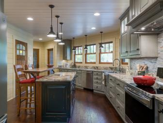 Neutral Cottage Kitchen With Black Pendants