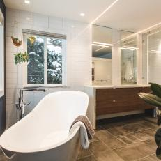 Master Bathroom With Hanging Plants