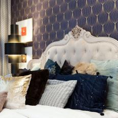 Eclectic Master Suite Features Luxe, Tufted Headboard