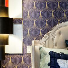 Eclectic Master Suite With Indigo Wallpaper, Bedside Table
