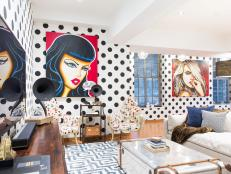 See how designer Joe Human took cues from his client's custom pop art collection to transform a stark white condo near Washington Square Park into a colorful, wildly whimsical bachelor pad with eclectic elements.
