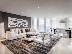 Contemporary Living Room in Gray and White