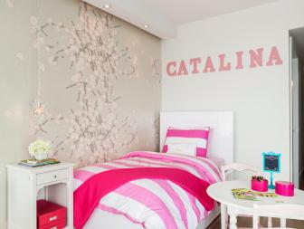 Little Girl's Bedroom With Pink Accents