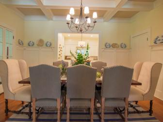 Contemporary Yellow Dining Room with Chandelier