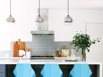 Gray and White Transitional Kitchen With Blue Barstools