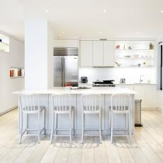 White Open Eat-In Kitchen