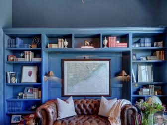 Blue Transitional Home Office With Leather Sofa