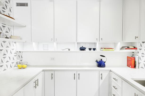 Upper and Lower Cabinetry in Bright White Kitchen