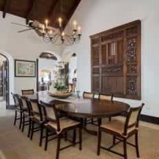 Mediterranean Dining Room With Wood Table. Mediterranean Style ... Part 70
