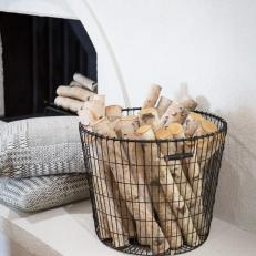 Wire Basket With Fireplace Logs