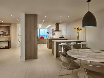 Neutral Modern Open Plan Kitchen and Marble Table