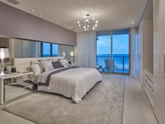 Purple Art Deco Master Bedroom With Ocean View