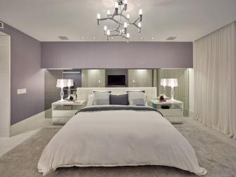 Gray and Purple Art Deco Master Bedroom
