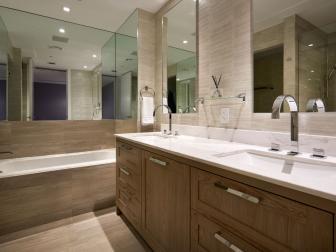 Neutral Modern Bathroom With Mirrors