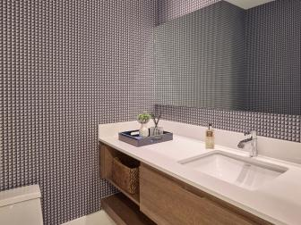 Gray Modern Powder Room With Graphic Wallpaper